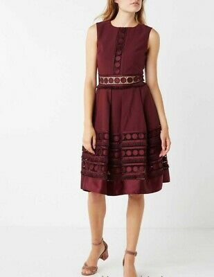 Ted Baker Burgundy Lace Textured Embroidered Midi Cocktail Party Dress 6 to 16