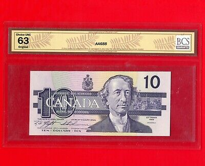 1989 Canada 10 Dollar Bank Note BC-57c Knight-Thiessen UNC 63 S/N BEH1090918