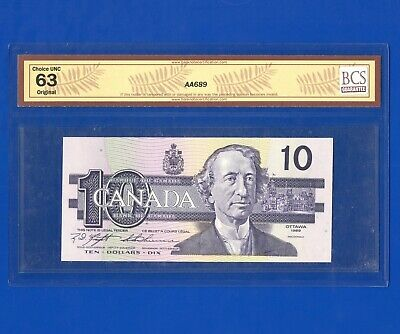 1989 Canada 10 Dollar Bank Note BC-57c Knight-Thiessen UNC 63 S/N BEH1090919
