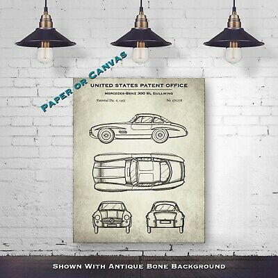 Mercedes-Benz 300 SL Gullwing - Automobile Patent Drawing - Classic Car Poster