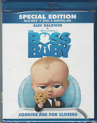 Blu-Ray + DVD Alec Baldwin THE BOSS BABY DreamWorks Animation  New/F'sld!