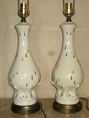 Pair Vintage Retro Mid Century  Table Lamps No Shades