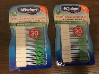 2 x Wisdom Medium GREEN Clean Between Interdental Brushes ~ (2 Packs Total 60)