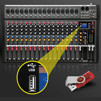 16 Channel Professional Music Stereo Mixer USB Slot Mixing Console Amplifier Amp