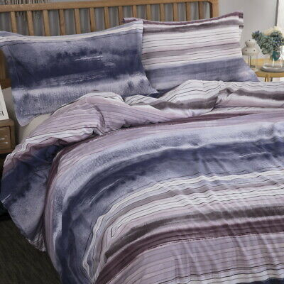 Magic Doona Quilt Duvet Covers Set Queen King Size Bed Set Striped Checked Linen