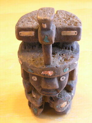 Pre-columbian Wari Culture Hand Carved Wooden Kneeling Warrior Thunderbird Inlay