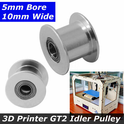 2pcs 3D Printer GT2 Idler Pulley Toothed and Smooth 5mm Bore Fit 10mm Wide Belt