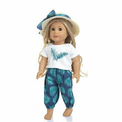 Summer Outfit Casual Clothes Shirt Pant with Hat for American 18 Inch Doll Gift