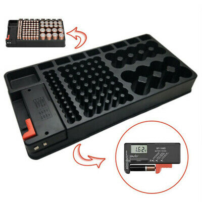 AA AAA DC 9V Battery Storage Organizer Case With Digital Screen Removable Tester