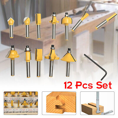 12Pcs Carbon Steel 1/4'' Shank Tungsten Carbide Router Bit Tip Woodworking Tool