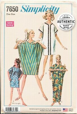 SIMPLICITY SEWING PATTERN 7650 MISSES 8-18 VINTAGE RETRO 1960s KITE DRESS CAFTAN
