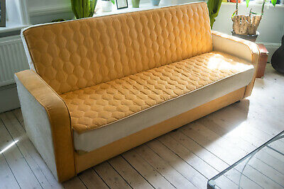 'Honeycomb' Vintage Midcentury Sofa Bed Original 60s70s Danish Style Retro Couch