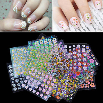 10 Sheets 3D Flower Tips Nail Art Transfer Stickers Decals Manicure Decoration