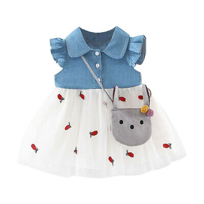 0-3Y Toddler Baby Kids Girls Patchwork Ruched Print Tulle Dress Princess Dresses
