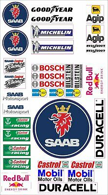 SAAB Logo Autoaufkleber Sponsoren Marken Aufkleber Decals Tuning Sticker Set