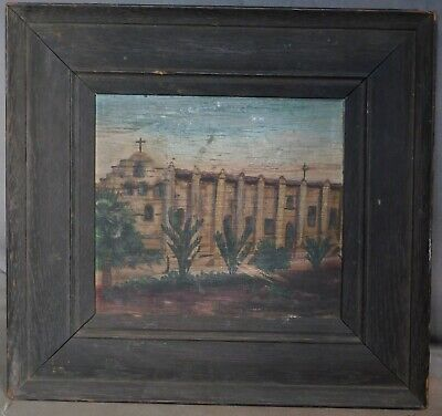 Antique Southwestern Folk Arts Crafts Painting Spanish Mission Oak Picture Frame