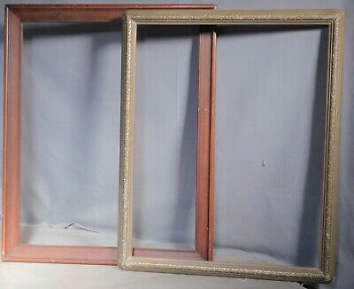 2 Antique Arts Crafts 16x20 Picture Frame Dark Wood Carved Gilt Custom Corner