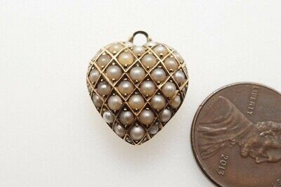 ANTIQUE LATE VICTORIAN ENGLISH 15K GOLD PEARL PUFFED HEART CHARM c1890
