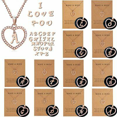 Charm DIY Crystal 26 Letter A-Z Love Heart Pendant Chain Necklace Card Gifts New