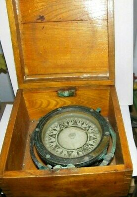 """antique ships floating compasses with wood box saura toyko,japan brass 5"""""""