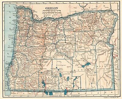 1921 Antique OREGON State Map Vintage Map of Oregon Gallery Wall Art 6704
