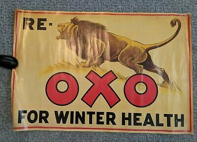 "older REPRO OXO POSTER 18"" x 27"" LION"