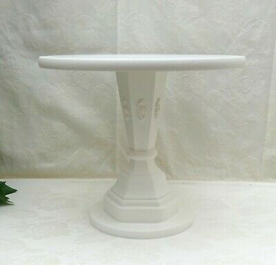 14 inch TALL WHITE PAINTED HAND MADE  WOODEN PEDESTAL WEDDING CAKE STAND