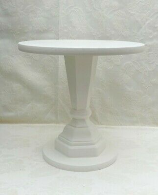 12 inch TALL WHITE PAINTED HAND MADE  WOODEN PEDESTAL WEDDING CAKE STAND