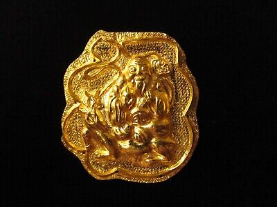 Antique Chinese Qing Dynasty Shou Lao 24K Gold Clothing Ornament