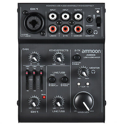 ammoon AGE03 5-Channel Mini Mic-Line Mixing Console Mixer High Quality L1S9