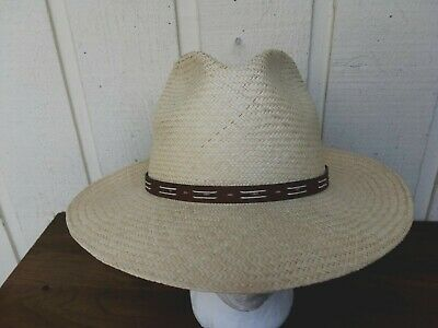 7be28f842eff64 MEN'S SUN HAT Panama Jack Safari Tan (Medium) Hawaiian Band Cotton ...