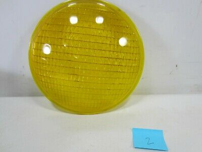 "Vintage Crouse-Hinds Type T-3 Yellow Glass 8 3/8"" Traffic Lens #2"
