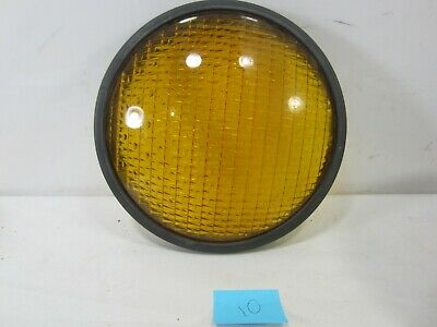 "Vintage Crouse-Hinds Type T-3 Yellow Glass 8 3/8"" Traffic Lens w/Gasket  #10"