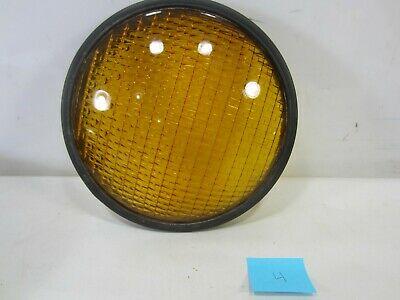 "Vintage Crouse-Hinds Type T-3 Yellow Glass 8 3/8"" Traffic Lens w/Gasket #4"