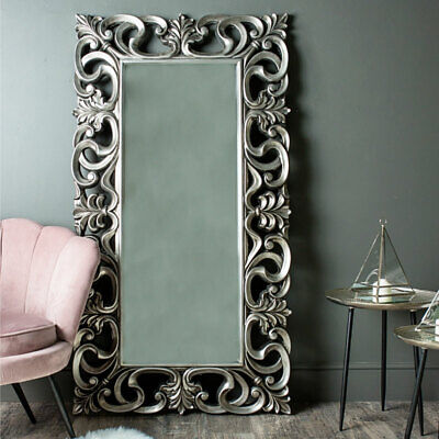 Large ornate silver bevelled wall floor leaner mirror vintage French shabby chic