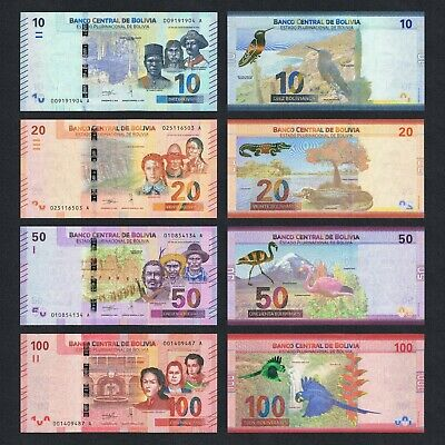 Set 2018/2019 Bolivia 10 20 50 100 Bolivianos P-New Unc> > > > > > >Colorful Set