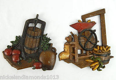 VIntage Homco Cast Iron Metal Wall Plaques Apple Press Corn Grinder 1978 decor