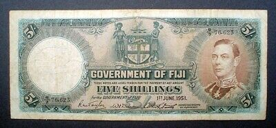 FIJI ~ KING GEORGE VI ~ 5 SHILLINGS 1951 f.