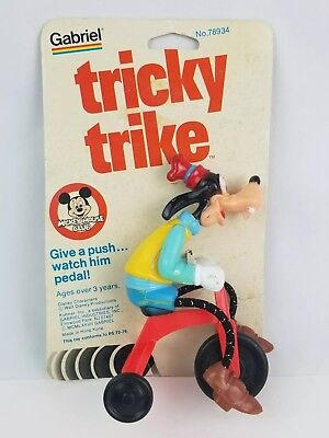 New on Card Walt Disney Tricky Trike Goofy on Bicycle Mickey Mouse Club NOS