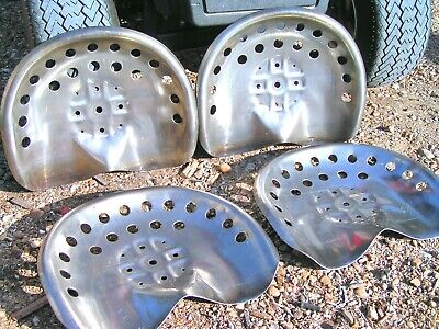 FOUR STEEL tractor seats Metal Farm or bar stool tops Pan Style Large