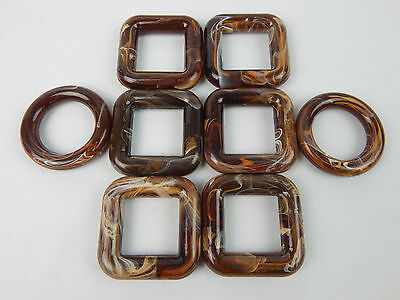 Set 8 Vtg MARBELLA Chololate Swirl Rings squares Jewelry Craft Making Handle