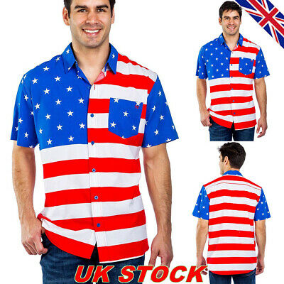 Mens USA America American Flag Shirt Short Sleeve Independence Day Tops Blouse