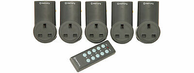 Set Of 5 Remote Control Wireless Plug In Mains Socket Wall Plugs 350.115Uk