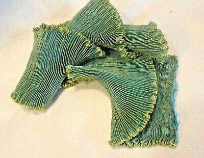 "CHARTREUSE GREEN 4/"" WIDE FORTUNY STYLE PLEATED RAYON MOIRE/' RIBBON BTY"