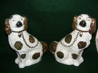 "Antique Pair Staffordshire Pottery Lustre Mantel Dogs Spaniels 11"" Gold White"