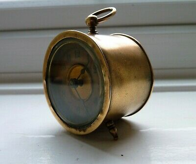 Antique Early 1900'S Brass Bedside Clock In Working Order