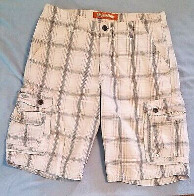 """6cd64b308c Lee Dungarees Cargo Shorts Size 32 Mens White Gray Plaid Flat Front 11""""  Inseam"""