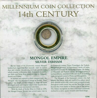 Millennium Coin Collection Mongol Empire Silver Dirham 14th Century Coin JG107