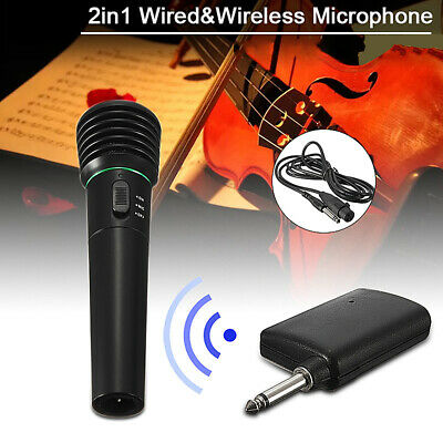New Wired Wireless 2in1 Handheld Microphone Mic Receiver System Undirectional MO