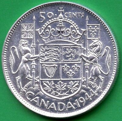"1944 Canada Silver 50 Cents ""Narrow Date"" 11.66 Grams .800 Silver"